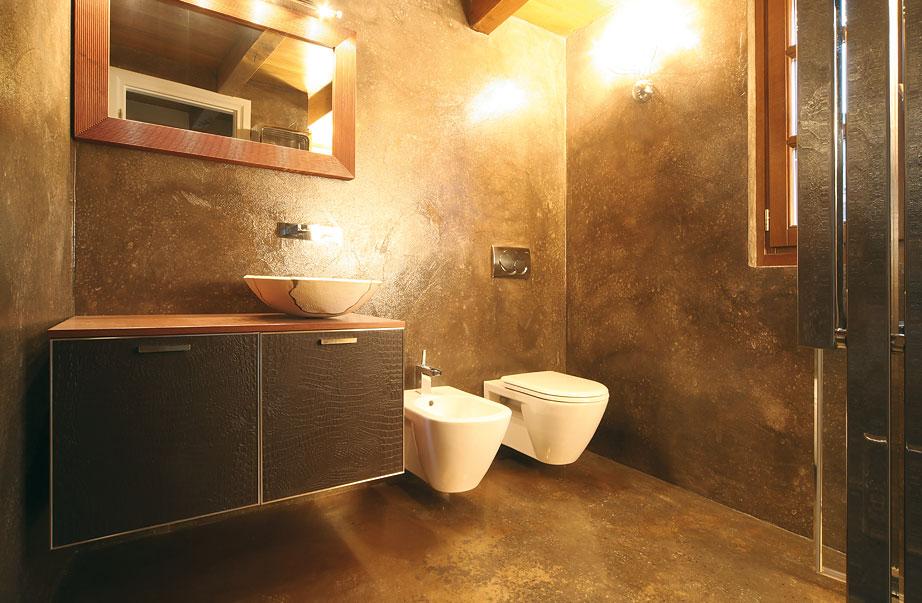 Bagno color oro - Pavimenti bagno in resina ...